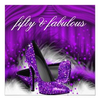 Fabulous 50 Purple High Heels 50th Birthday Party
