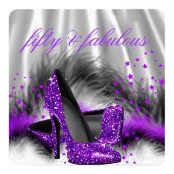 Fabulous 50 Purple Silver High Heel Birthday Party