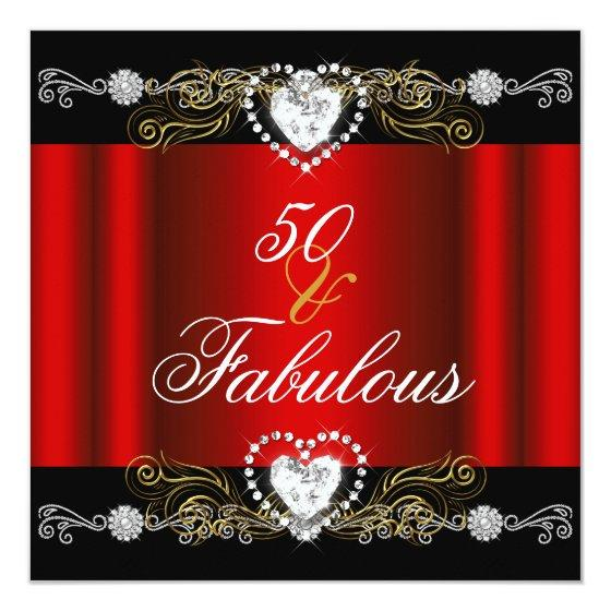 231 Fabulous 50 Red Black Silver Gold 50th Birthday Invitation