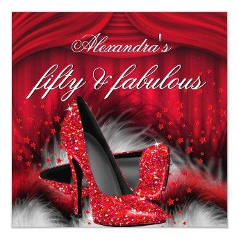 Fabulous 50 Red High Heels Feathers Birthday