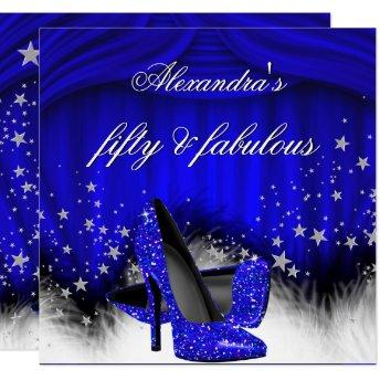 Fabulous 50 Royal Blue High Heels Feather Birthday Invitation