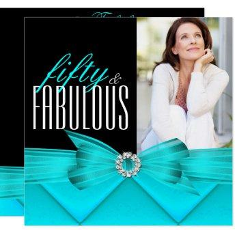 Fabulous 50 Teal Black Photo Elegant Birthday