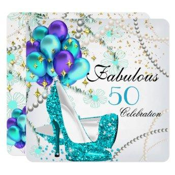 Fabulous 50 Teal Blue High Heels Floral Birthday