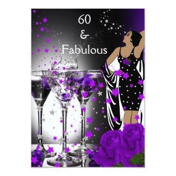 Fabulous 60 60th Birthday Purple Roses Martini