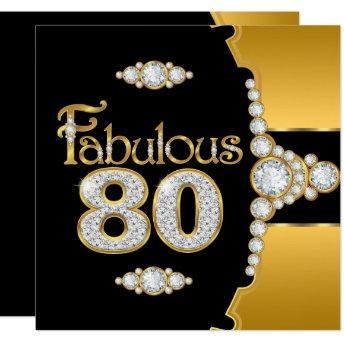Fabulous 80 80th Birthday Gold Black Diamond Invitation