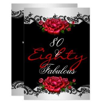 Fabulous 80 80th Birthday Party Red Roses White