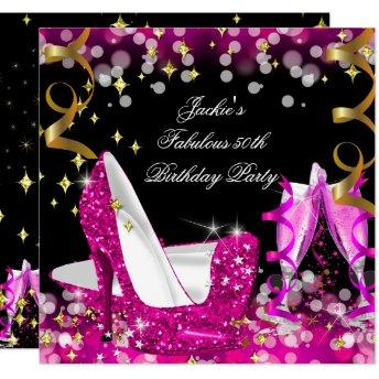 Fabulous Hot Pink Glitter High Heel 50th Birthday Invitation