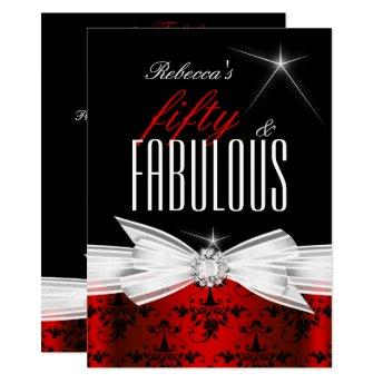 Fabulous Red Black Damask 50th Birthday Party
