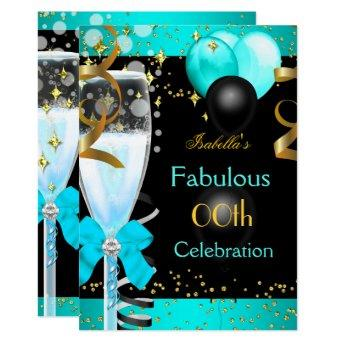 Fabulous Teal Blue Champagne Gold Birthday Party