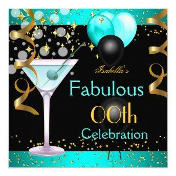 Fabulous Teal Blue Martini Gold Birthday Party