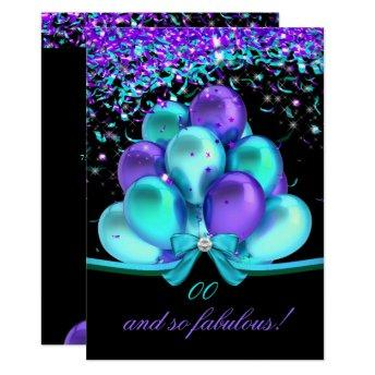 Fabulous Teal Purple Streamers Balloons Birthday