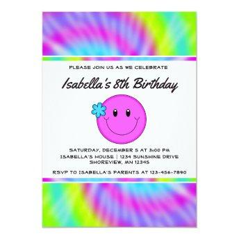 Face Tie Dye Birthday Invitation