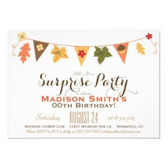 Fall Color Leaves Bunting Birthday Surprise Party Invitation