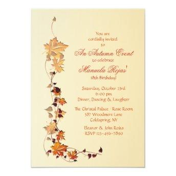 Fall Leaves Corner Invitation