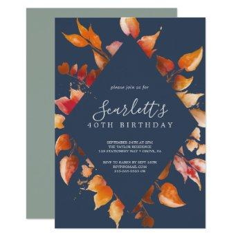 Fall Leaves | Navy Blue & Burgundy 40th Birthday Invitation