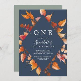 Fall Leaves | Navy Blue & Burgundy First Birthday Invitation