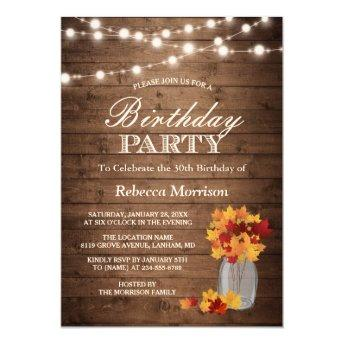 Fall Leaves Rustic String Lights Birthday Party
