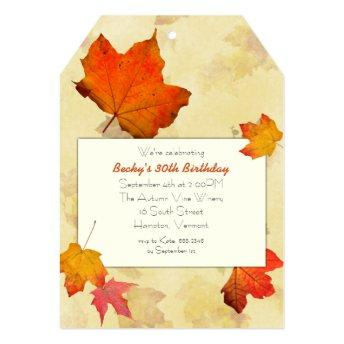 Fall Leaves Tag Birthday Party Invitation