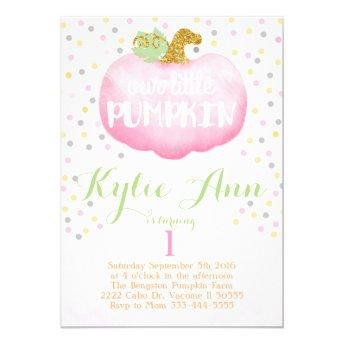 Fall pink pumpkin birthday invitation