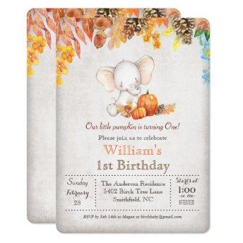 Fall Pumpkin and Elephant 1st Birthday Invitation