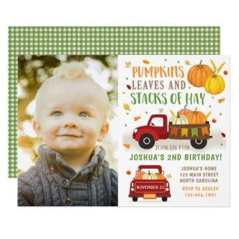 Fall Pumpkin Birthday Invitation Boy