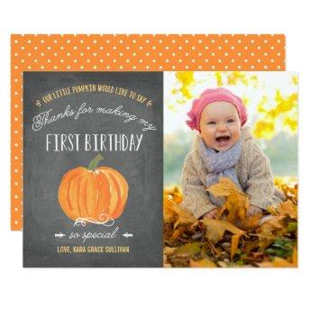 Fall Pumpkin | First Birthday Thank You with Photo