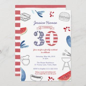 Family Cookout 30th Birthday Party, Memorial Day Invitation