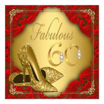 Fancy Red Gold High Heel Fabulous 60th Birthday