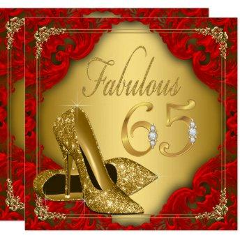 Fancy Red Gold High Heel Fabulous 65th Birthday Invitation