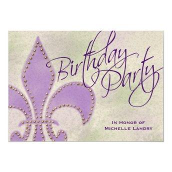 Fancy Swirl Purple Fleur de Lis Birthday Party Invitation