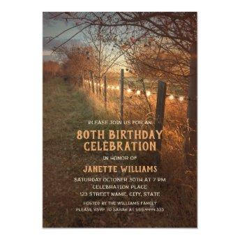 Farm 80th Birthday Invitation Rustic Country Path