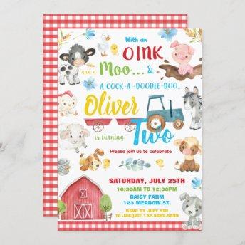 Farm Animals Barnyard 2nd Birthday Turning Two Invitation