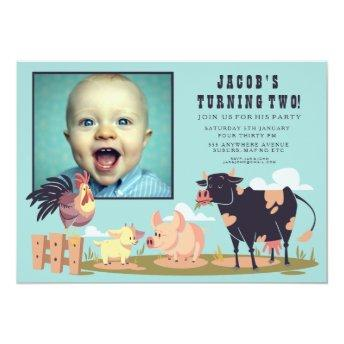 Farm Animals Barnyard Kids Birthday Photo Invite
