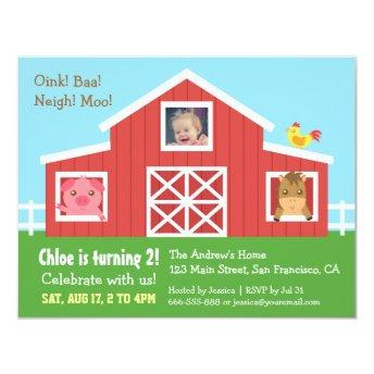 Farm Barnyard Animal Photo Birthday Party