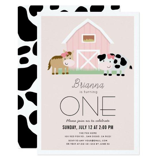 Farm Barnyard Pink Girl 1st Birthday Invitation