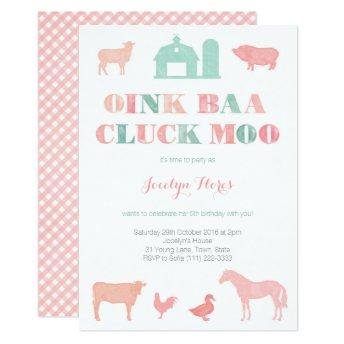 farm birthday party for girl, oink baa cluck moo invitation