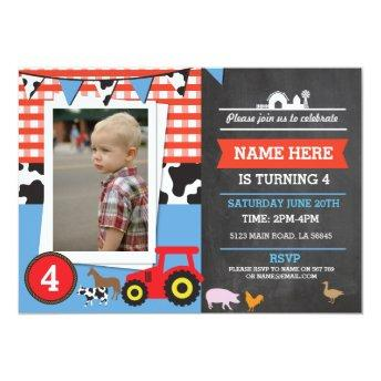 Farm Yard Photo Birthday Party Blue Boy's Invite