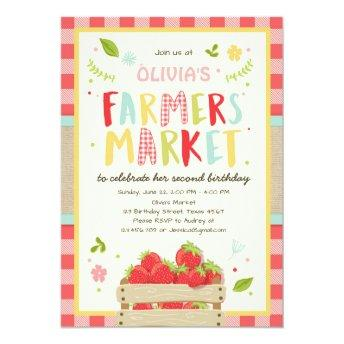 Farmers Market Birthday Invitation Strawberry Farm