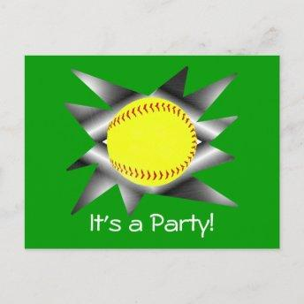 Fastpitch Softball Party Invitation