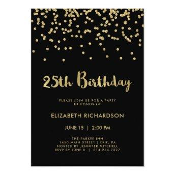 Faux Gold Confetti on Black | 25th Birthday Party