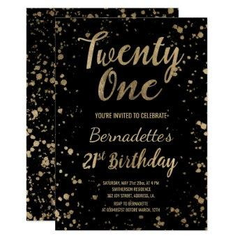 Faux gold confetti splatters 21st Birthday Invitation