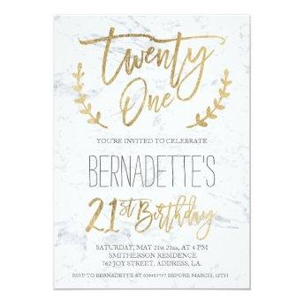 Faux gold typography feathers marble 21st Birthday