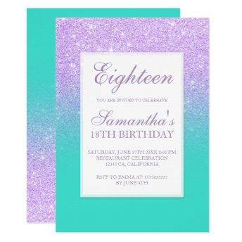 Faux lavender glitter turquoise chic eighteen