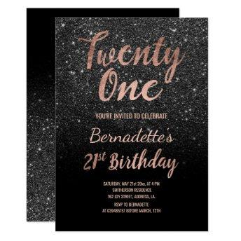 Faux rose gold black faux glitter 21st Birthday Invitation