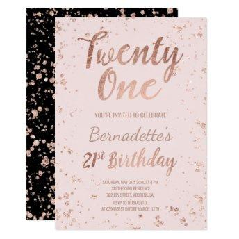 Faux rose gold confetti blush 21st Birthday Invitation