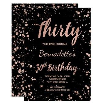 Faux rose gold confetti splatters 30th Birthday