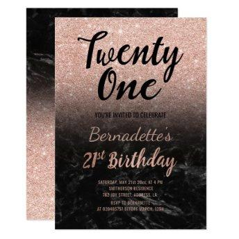Faux rose gold faux glitter black marble 21st Birt Invitation