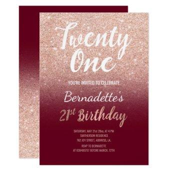Faux rose gold faux glitter burgundy 21st Birthday Invitation