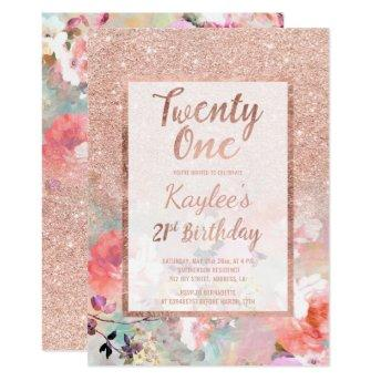 Faux rose gold floral watercolor 21st Birthday