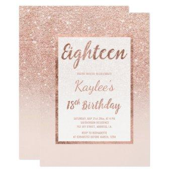 Faux rose gold glitter elegant chic 18th Birthday Invitation
